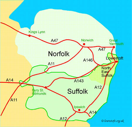 Showing the location of North East Suffolk relative to East Anglia